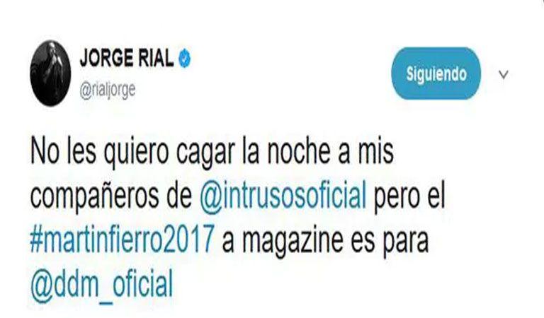 La reflexión de Rial post Martín Fierro: