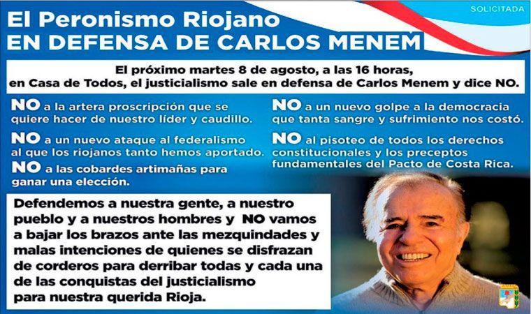 Carlos Menem no podrá competir en las PASO