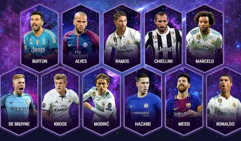 La UEFA da a conocer su XI ideal de 2017
